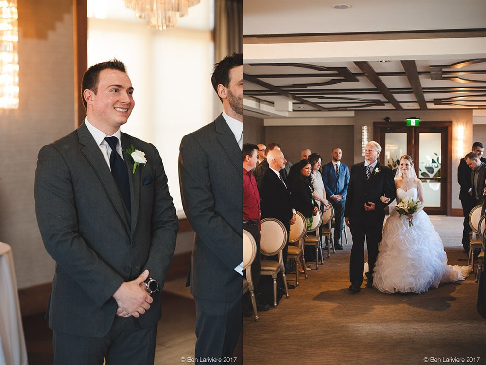 groom smiles as his bride is walked down the aisle by her father