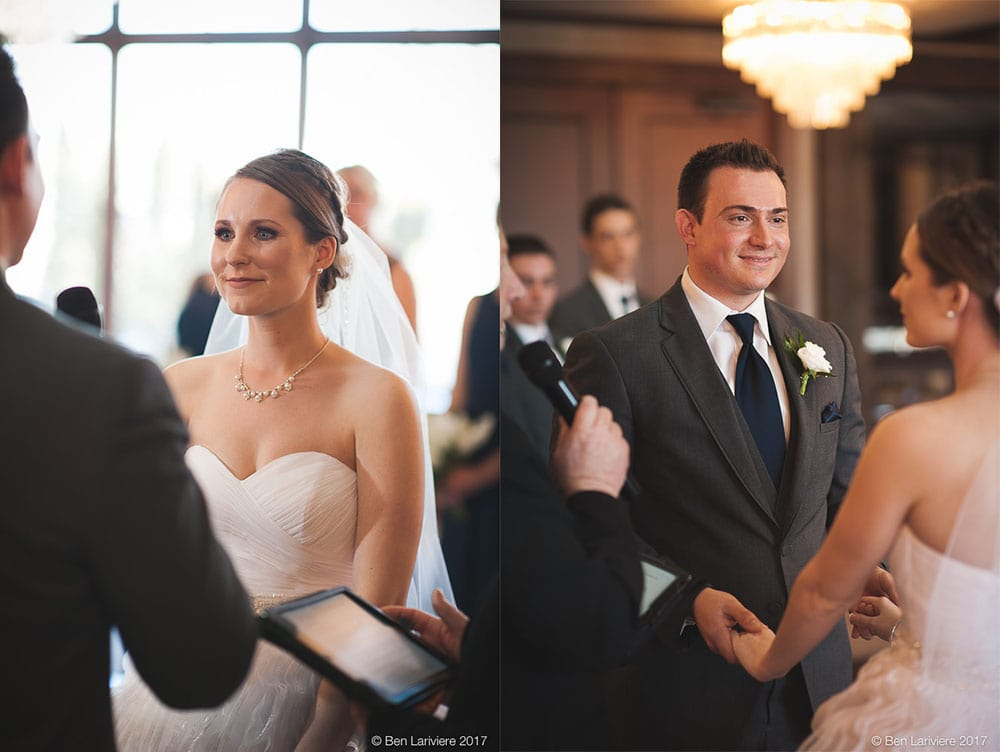 bride and groom look at each other during wedding ceremony