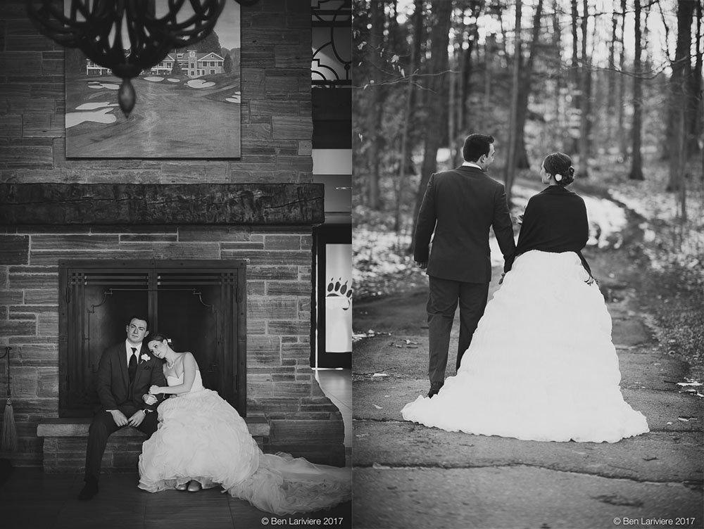 bride and groom cuddle next to fireplace