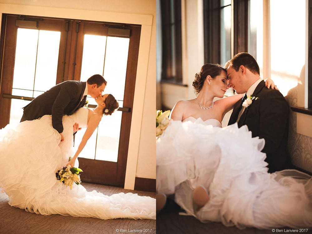 bride and groom dip in a golden magic hour sunlit room