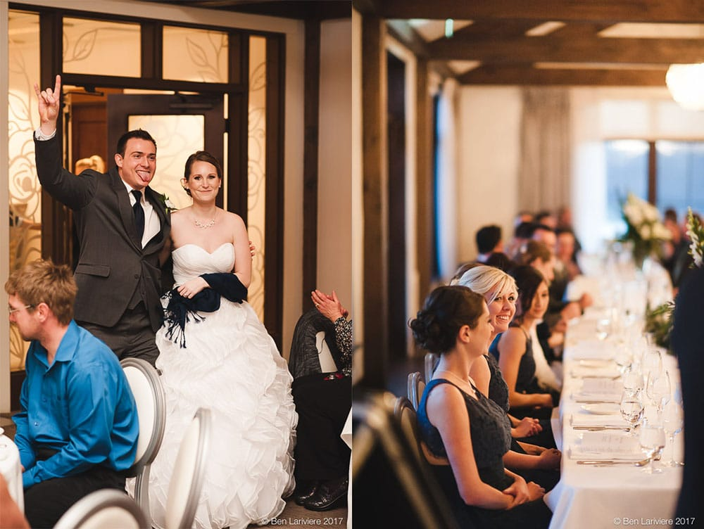 "bride and groom enter their reception with ""rock on"" hand symbol and a bridesmaid laughs"