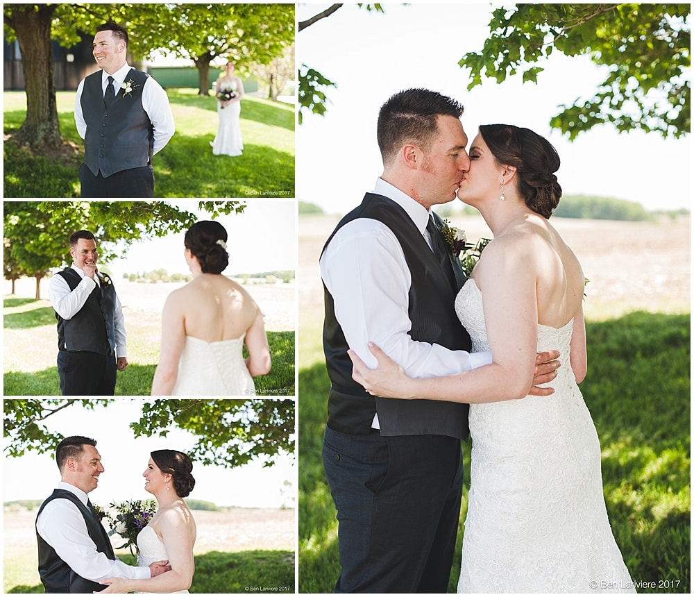 bride and groom's first look, kissing