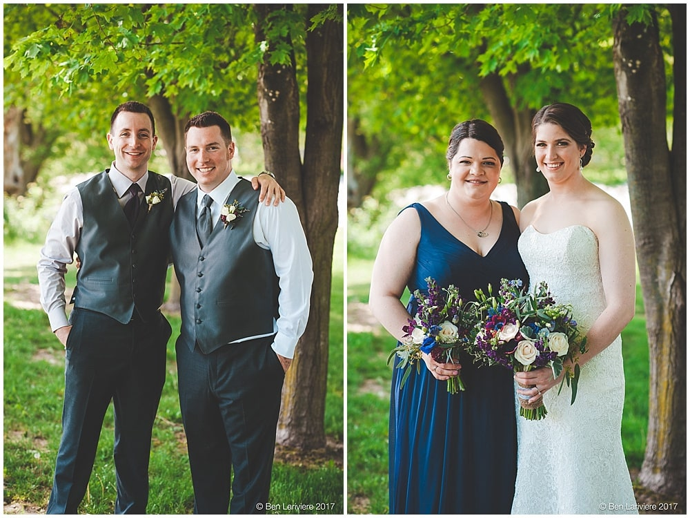 bride and groom with best man and maid of honour