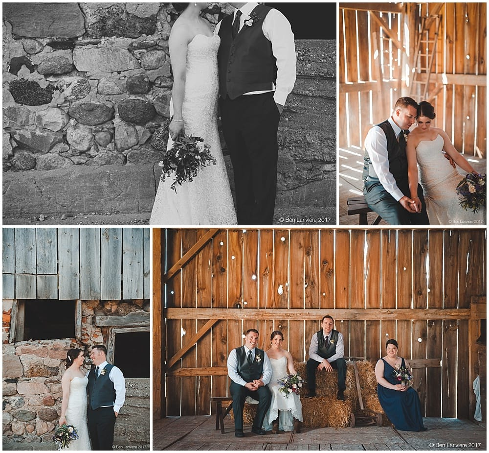 wedding party inside and outside of an old stone and wooden barn