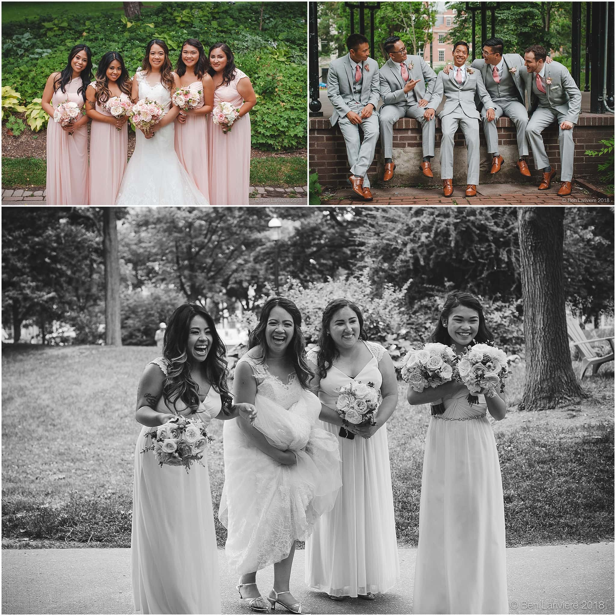 bridesmaids and groomsmen wedding photos at st. james park king street toronto