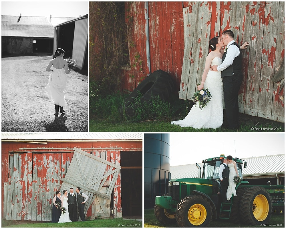 wedding party by barn door and farm tractor