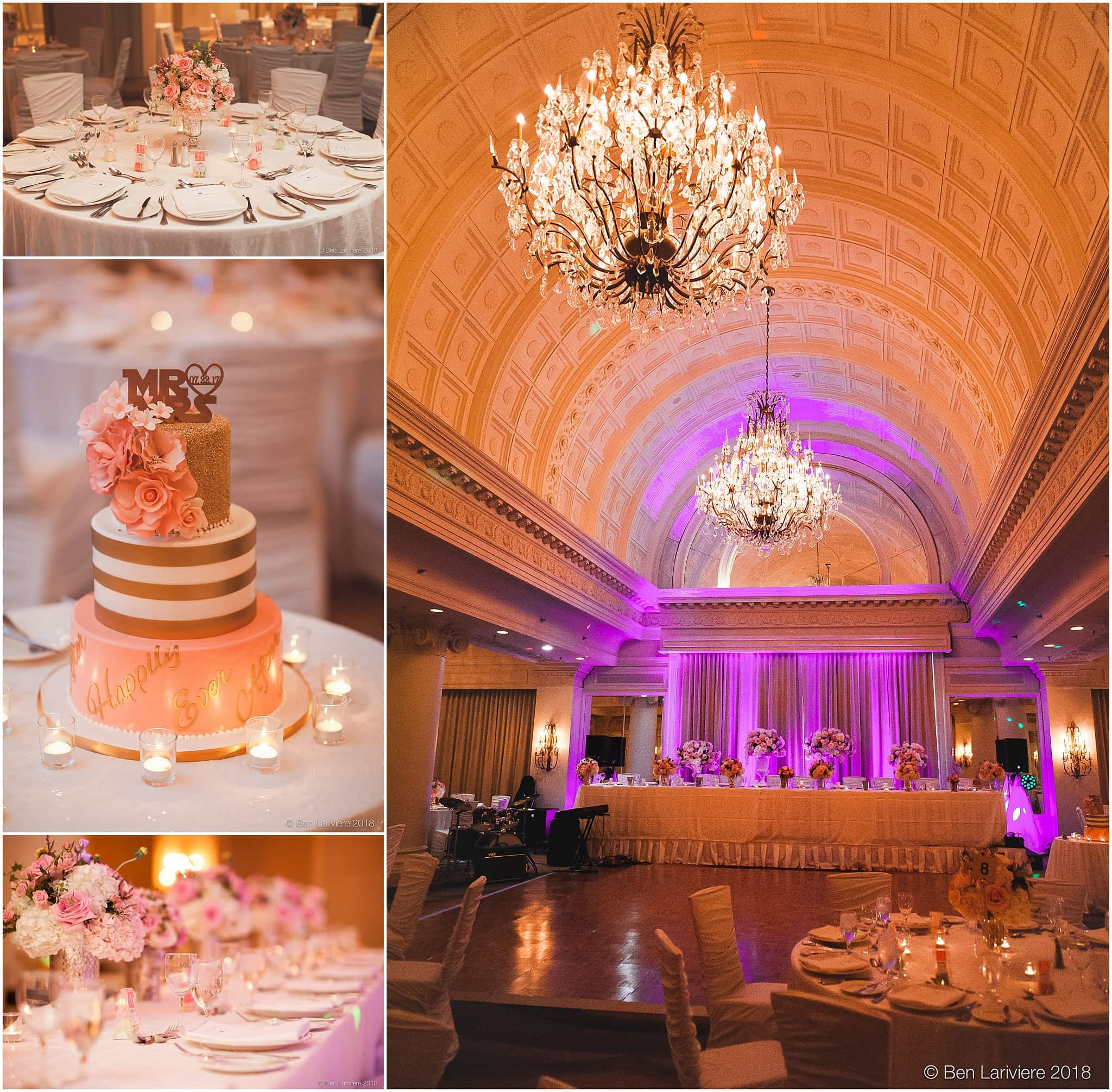 wedding cake and reception decor details in vanity fair ballroom, omni king edward hotel