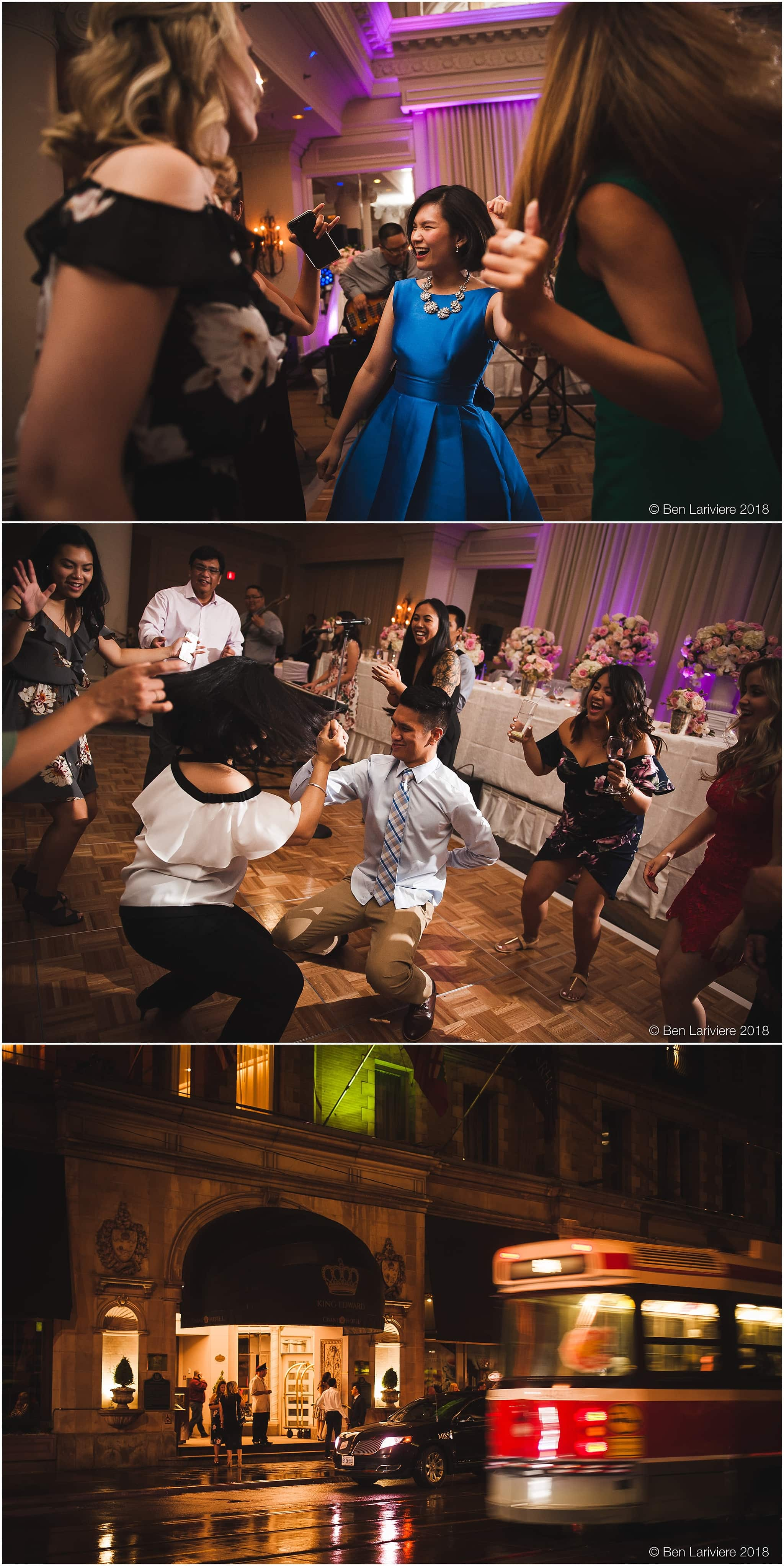 wedding guests dance at omni king edward hotel reception