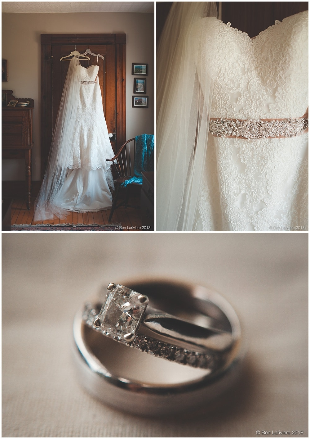 wedding dress and wedding bands detail photos