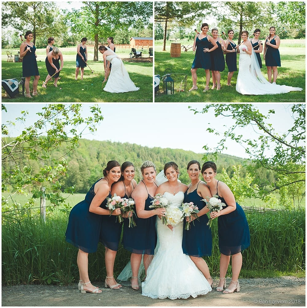 bride and bridesmaids group photos with croquet set