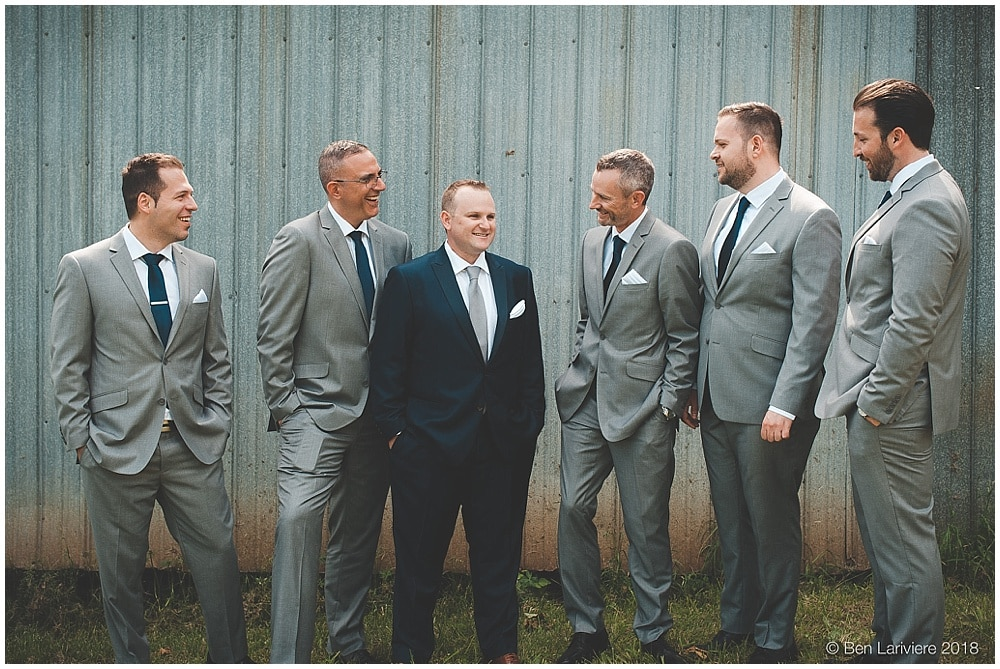 groom and groomsmen casual group photo