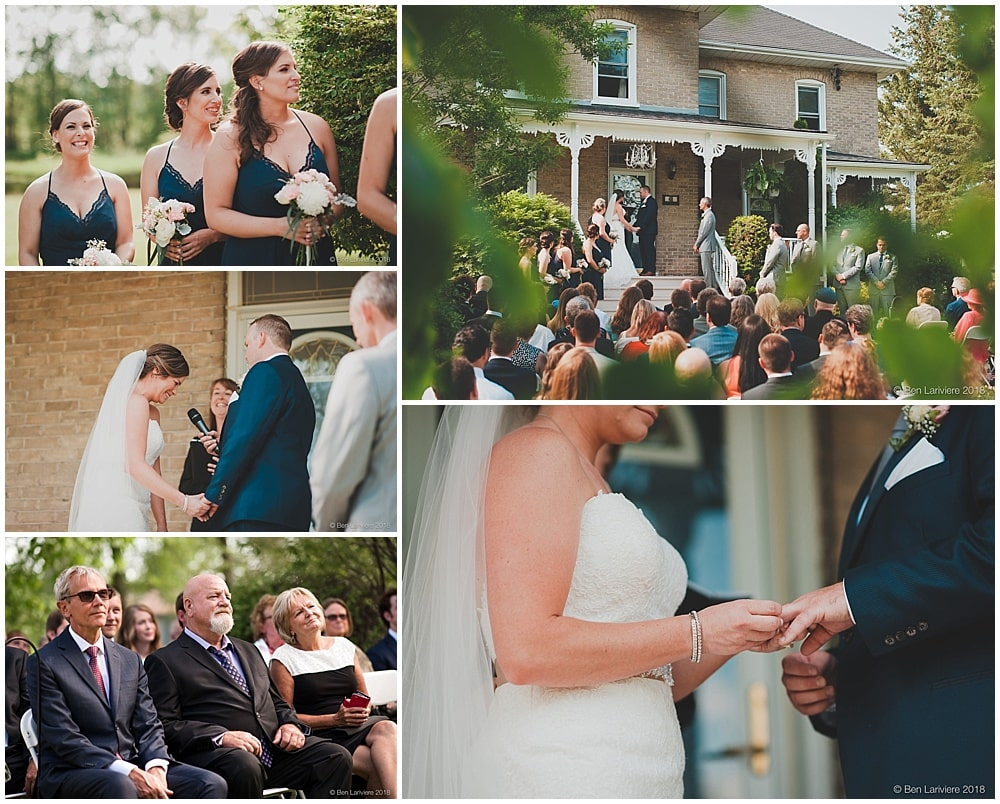 outdoor wedding ceremony on porch steps of farm house