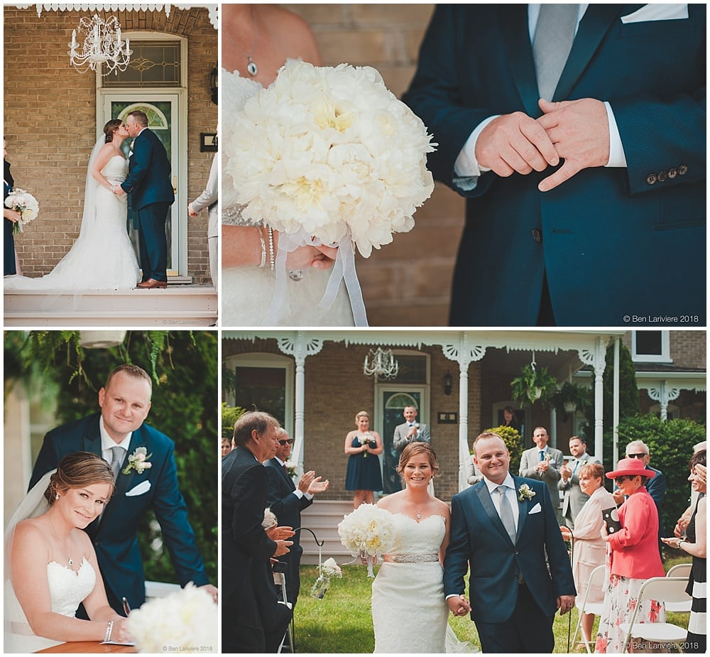 kiss and marriage license signing outdoor farm house wedding