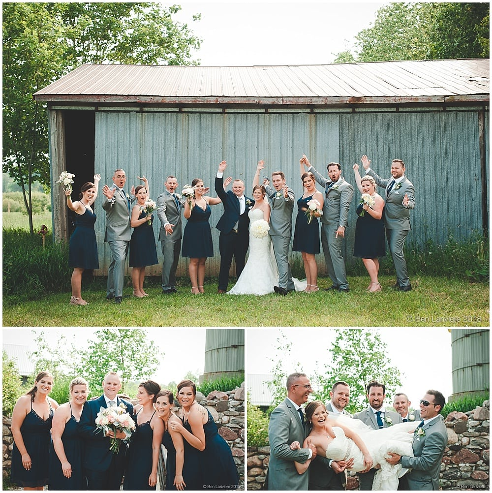 wedding party photos by metal barn door