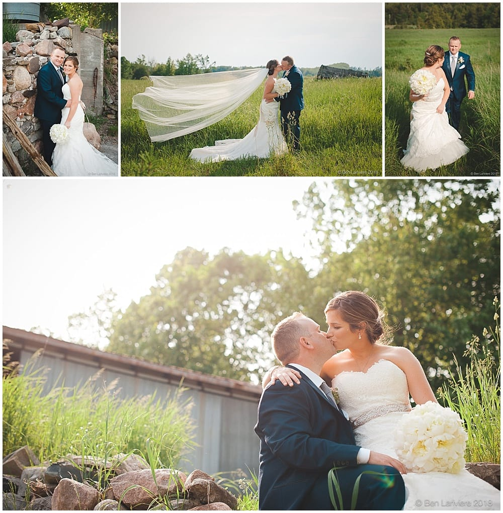 farm wedding photos bride and groom field and barn