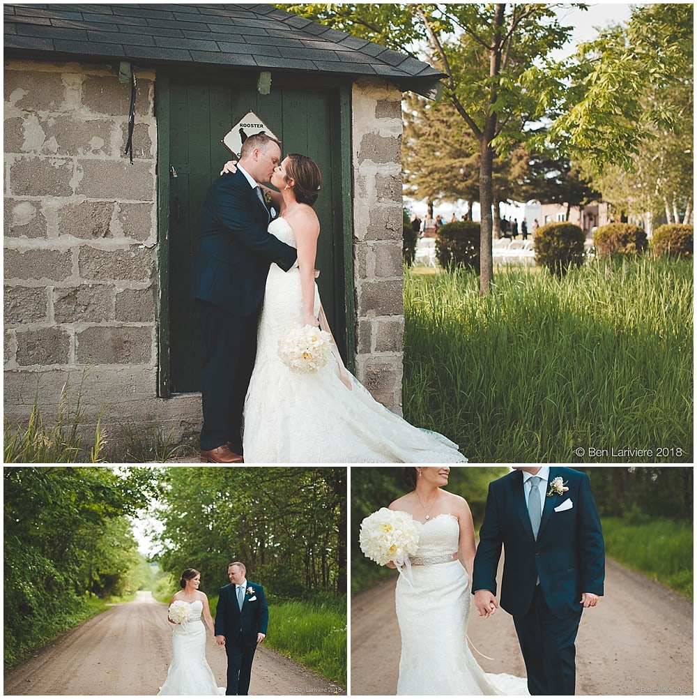 country farm wedding bride and groom photos dirt road and stone shed