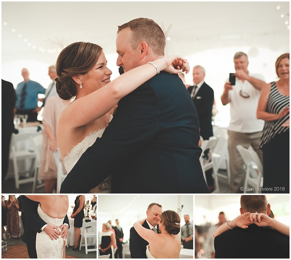 bride & groom first dance tent wedding reception