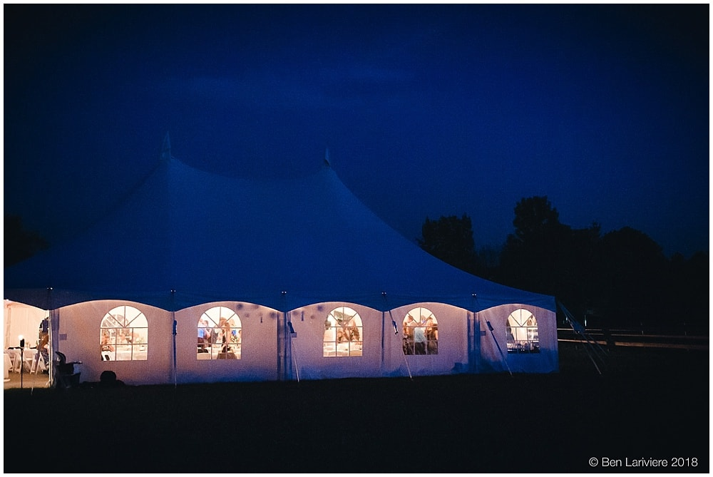 wedding reception tent night photo