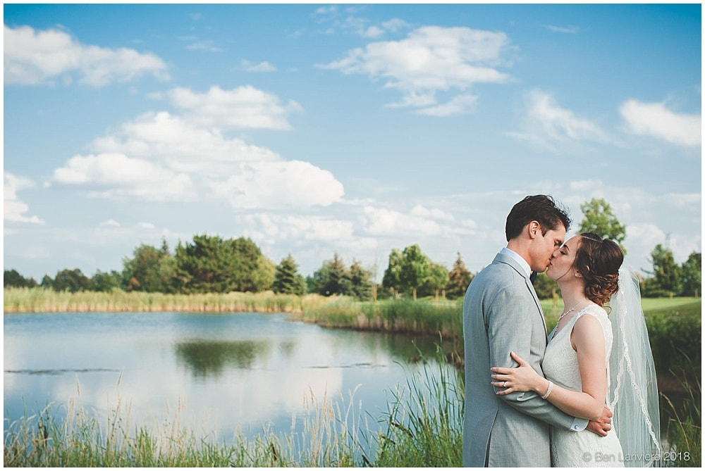 bride and groom pond photo
