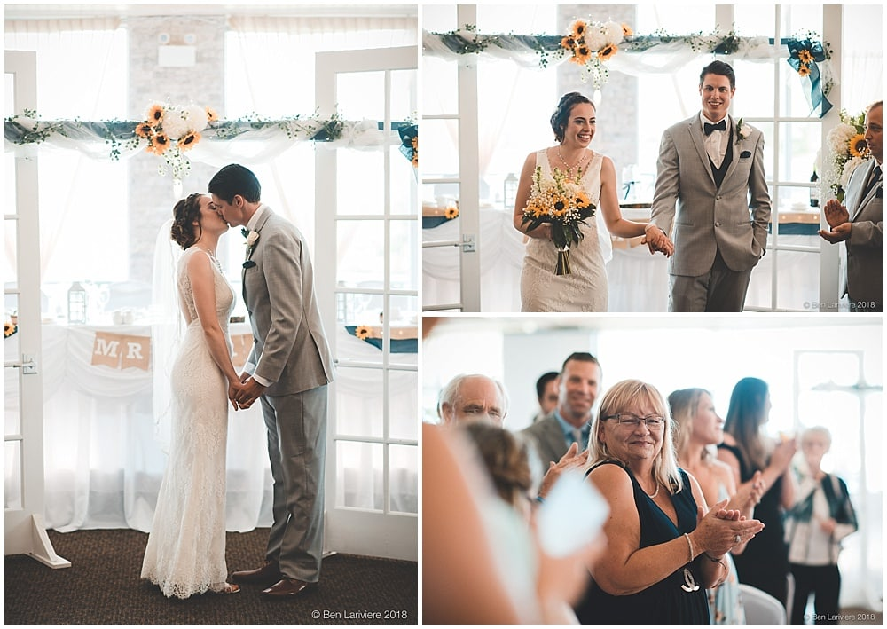 bride and groom's first kiss during ceremony and recessional