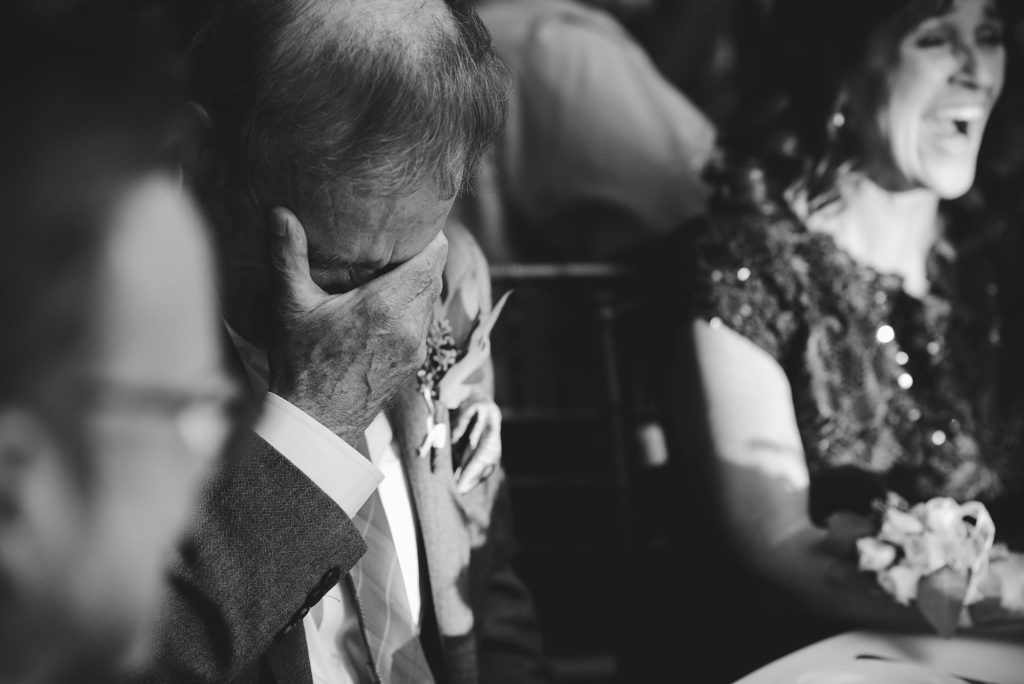 father of the groom emotional reaction during speeches crying