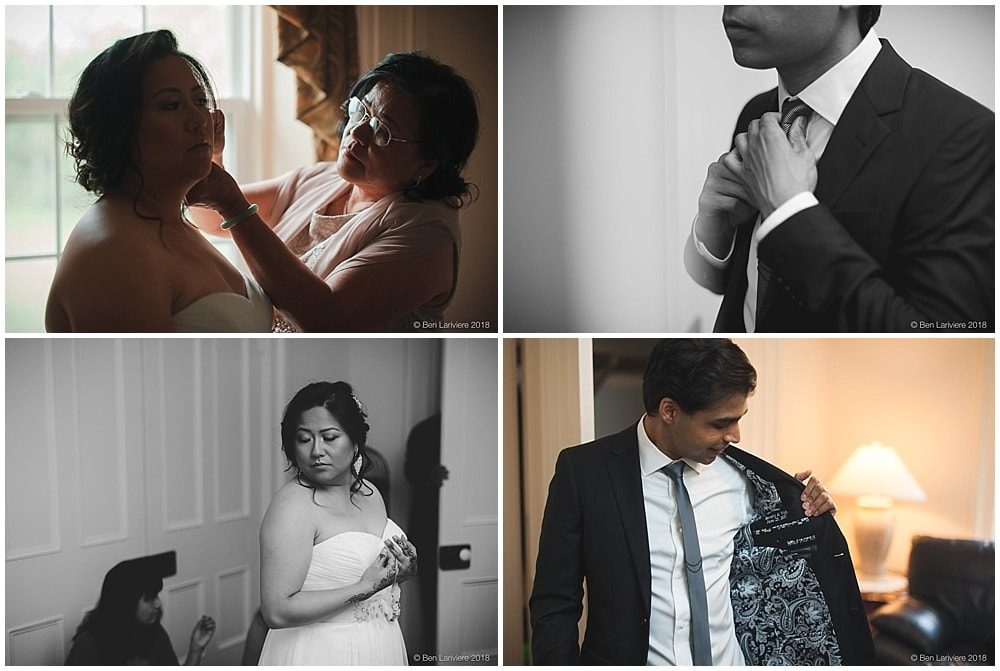 filipina bride and indian groom getting ready wedding prep