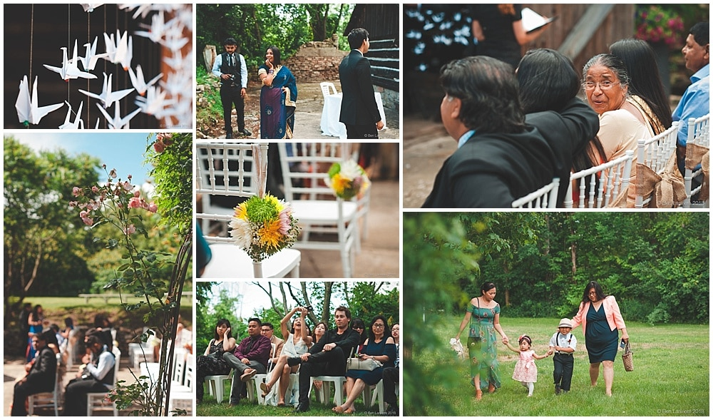wedding ceremony details and guests at old springer house burlington