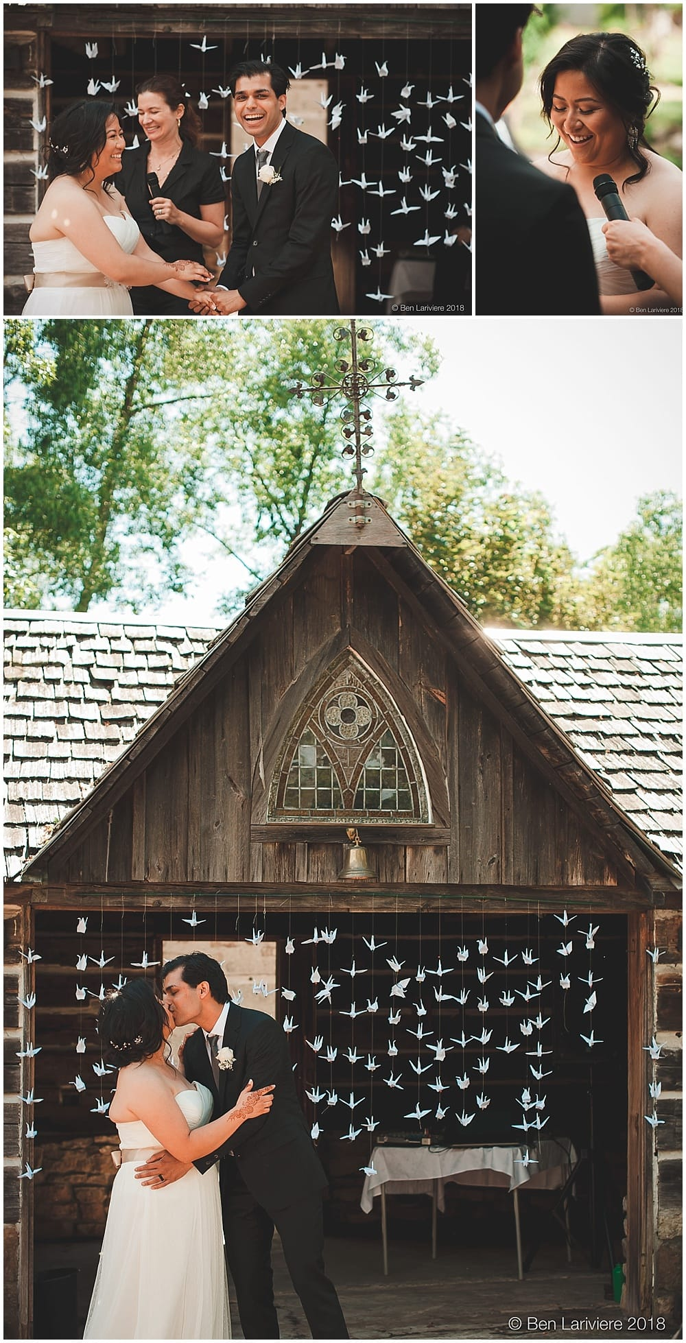 wedding ceremony kiss with paper cranes old springer house burlington