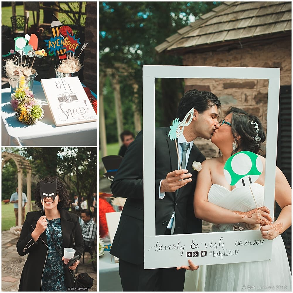 wedding photo booth with comic book props bishplz2017