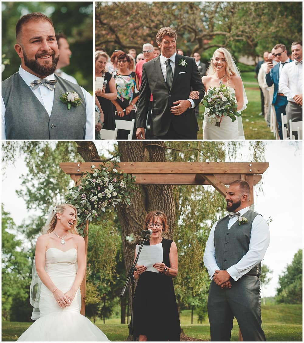 groom's emotional reaction to seeing his bride during outdoor ceremony