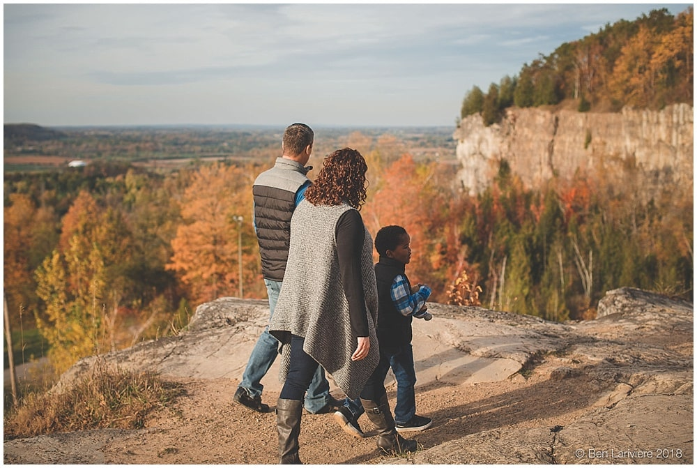 Autumn family portraits on cliff edge in Milton