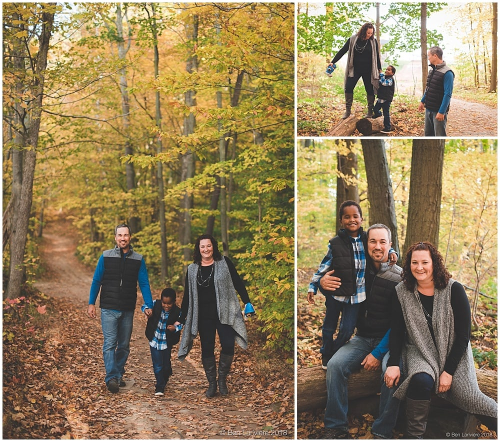 Autumn family portraits in forest