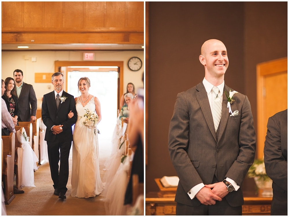 bride and groom first see each other during steinmann mennonite church ceremony