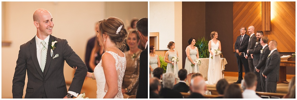 bride and groom first see each other during church ceremony