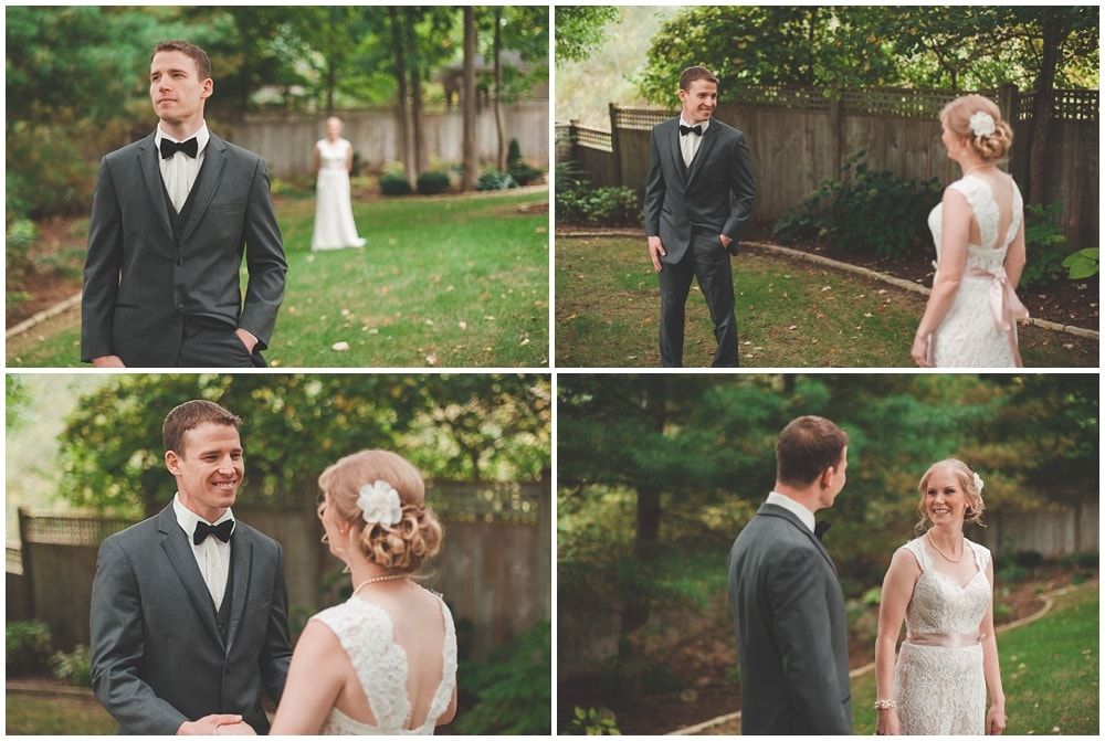 bride and groom first look by backyard fence