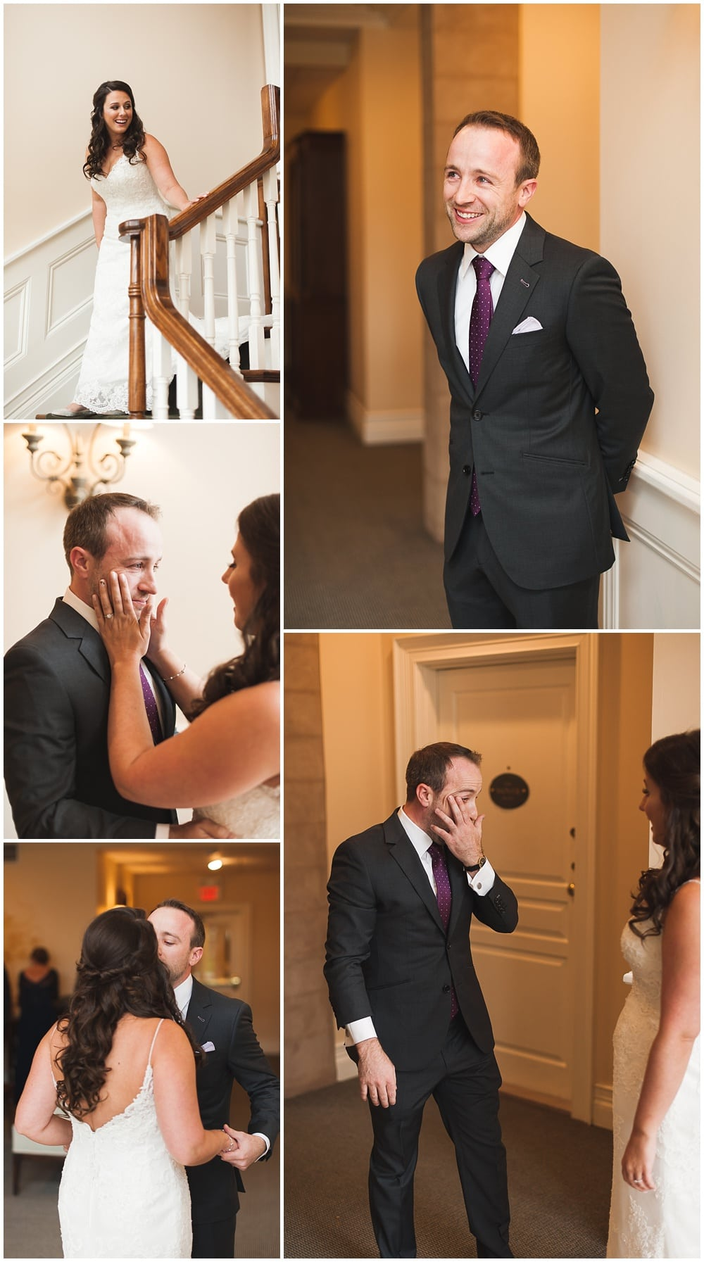 bride & groom emotional first look staircase hotel inn on the twenty