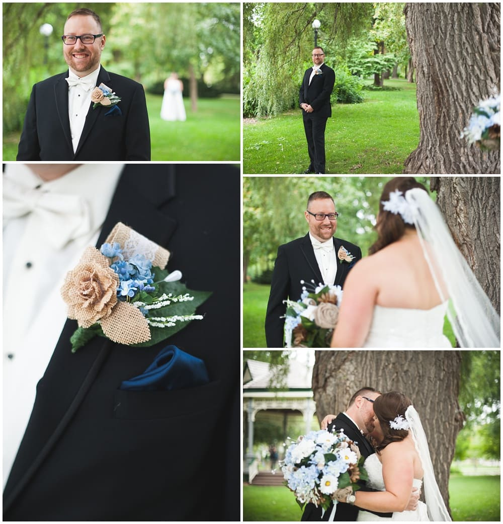 bride and groom's first look under tree victoria park kitchener