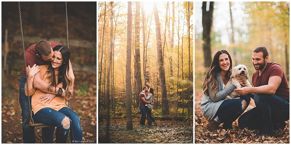 fall engagement photos of couple in bright yellow forest with dog