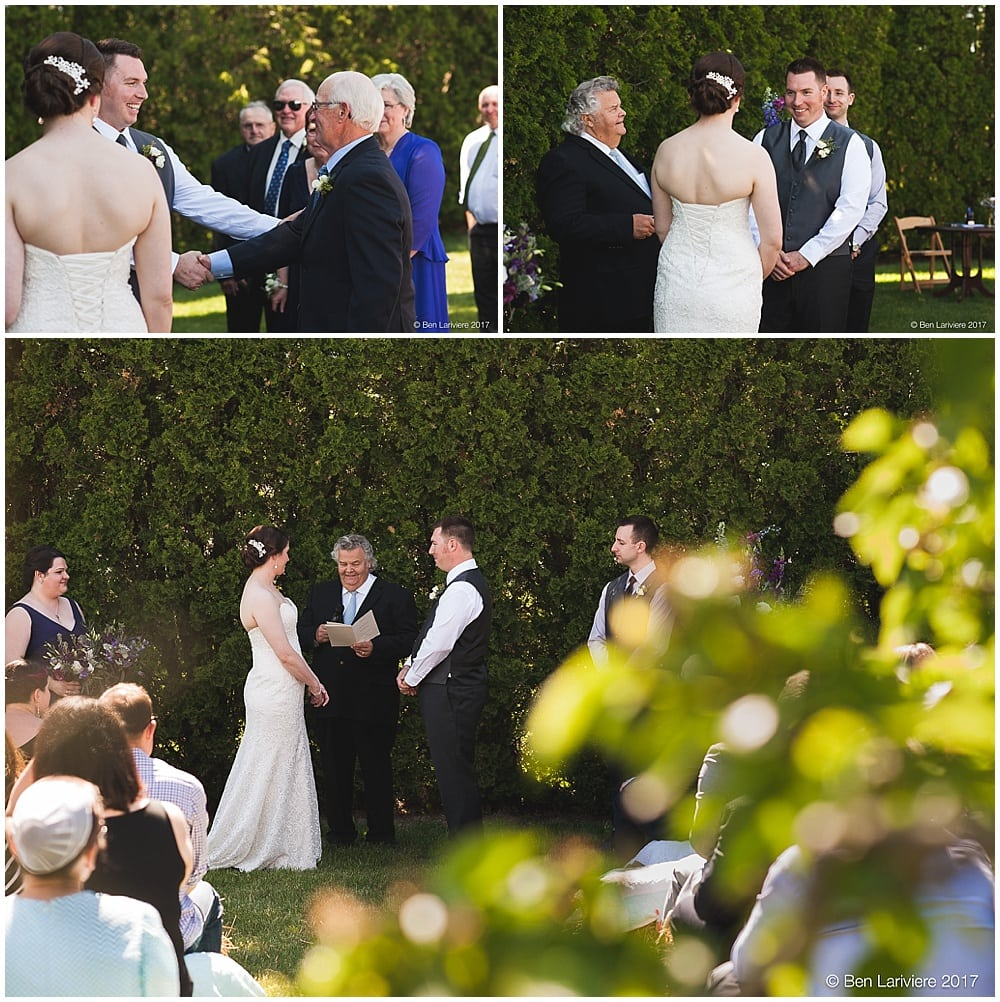 becky & wyatt's outdoor wedding ceremony in front of a tall hedge