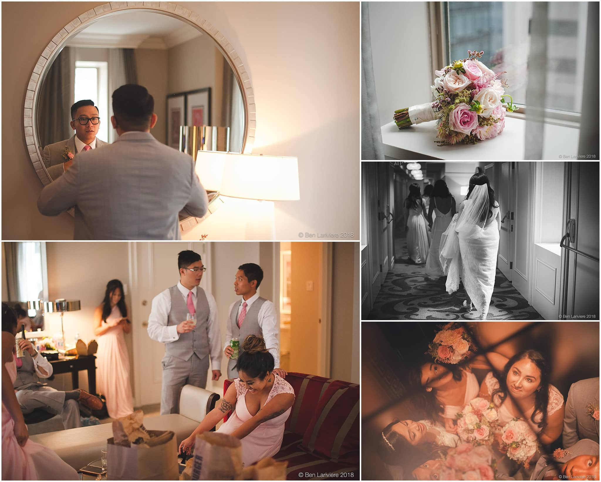 wedding party getting ready in hotel room, bouquet, elevator mirror celing