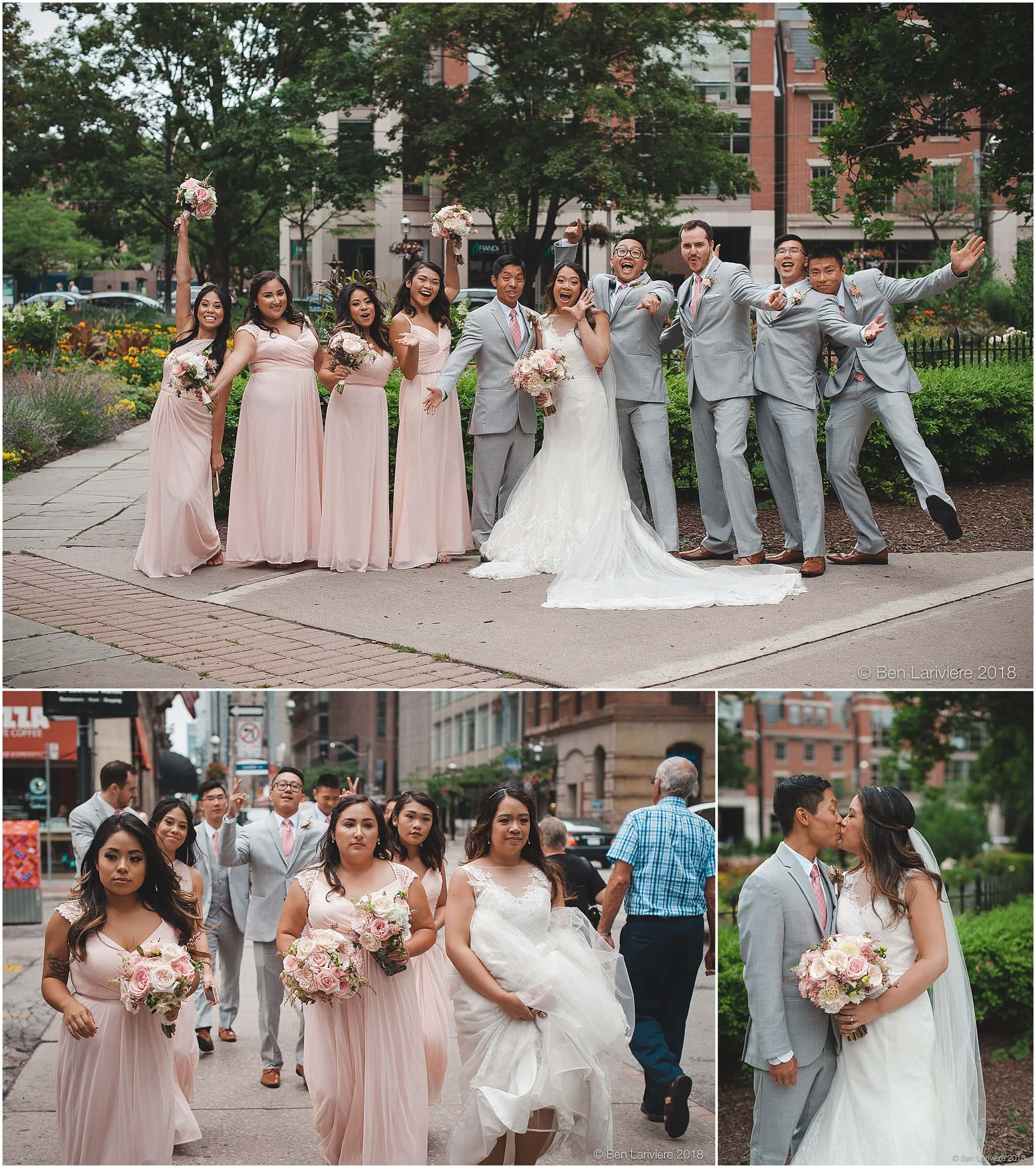 wedding party and bride and groom wedding photos at st. james park king street toronto