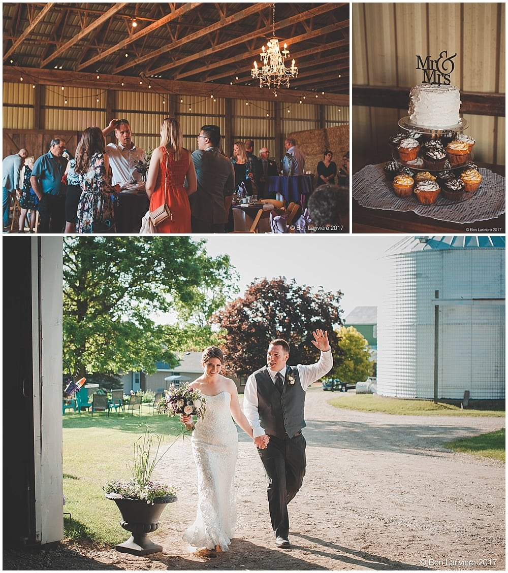 bride & groom announced into farm wedding reception in machinery shed with chandeliers