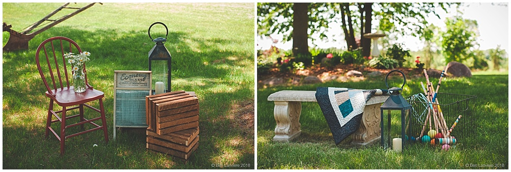 farm wedding vignettes with croquet blanket apple boxes and lanterns