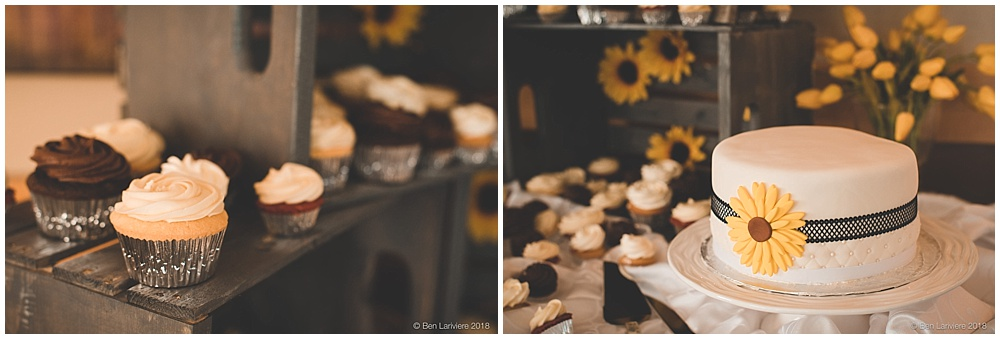 wedding cake table detail photos with sunflowers