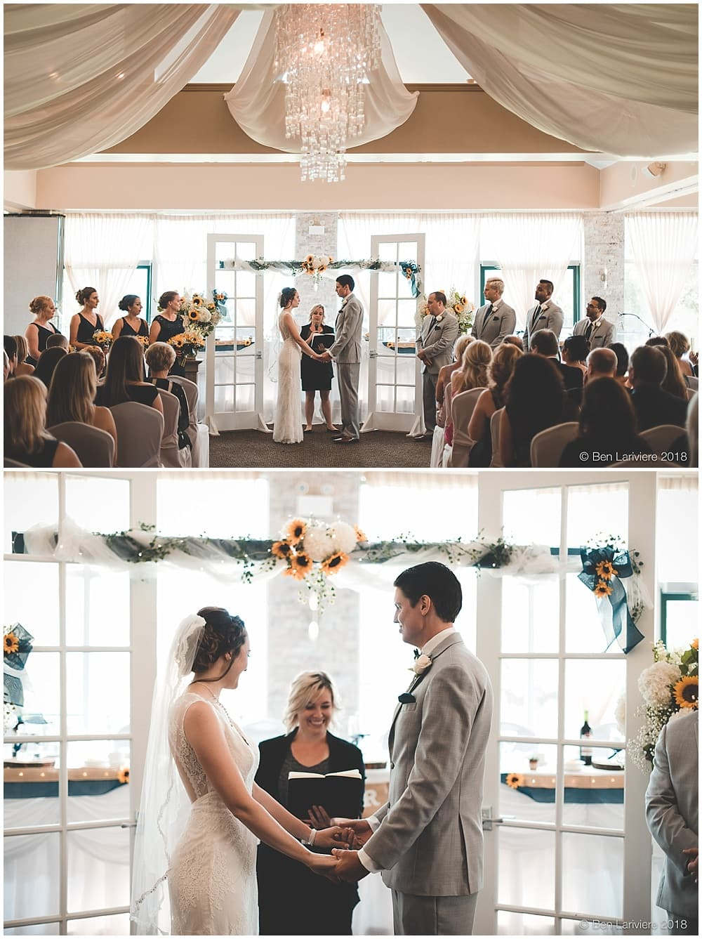 indoor wedding ceremony with sunflowers