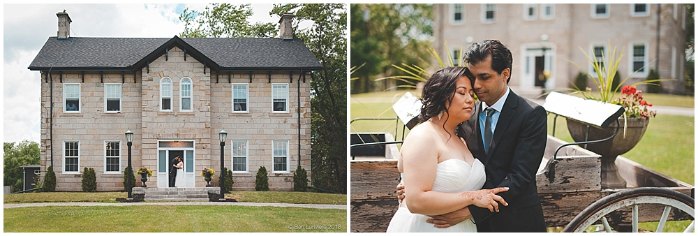 bride and groom portraits at old springer house burlington with carriage buggy
