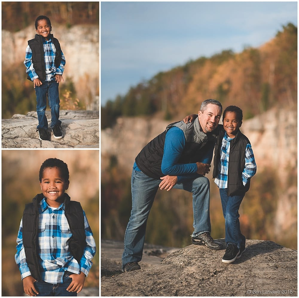 Young boy family portraits on cliff edge in Milton