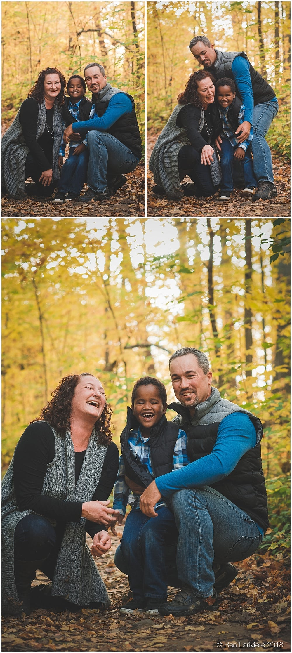 family portraits laughing with yellow leaves milton
