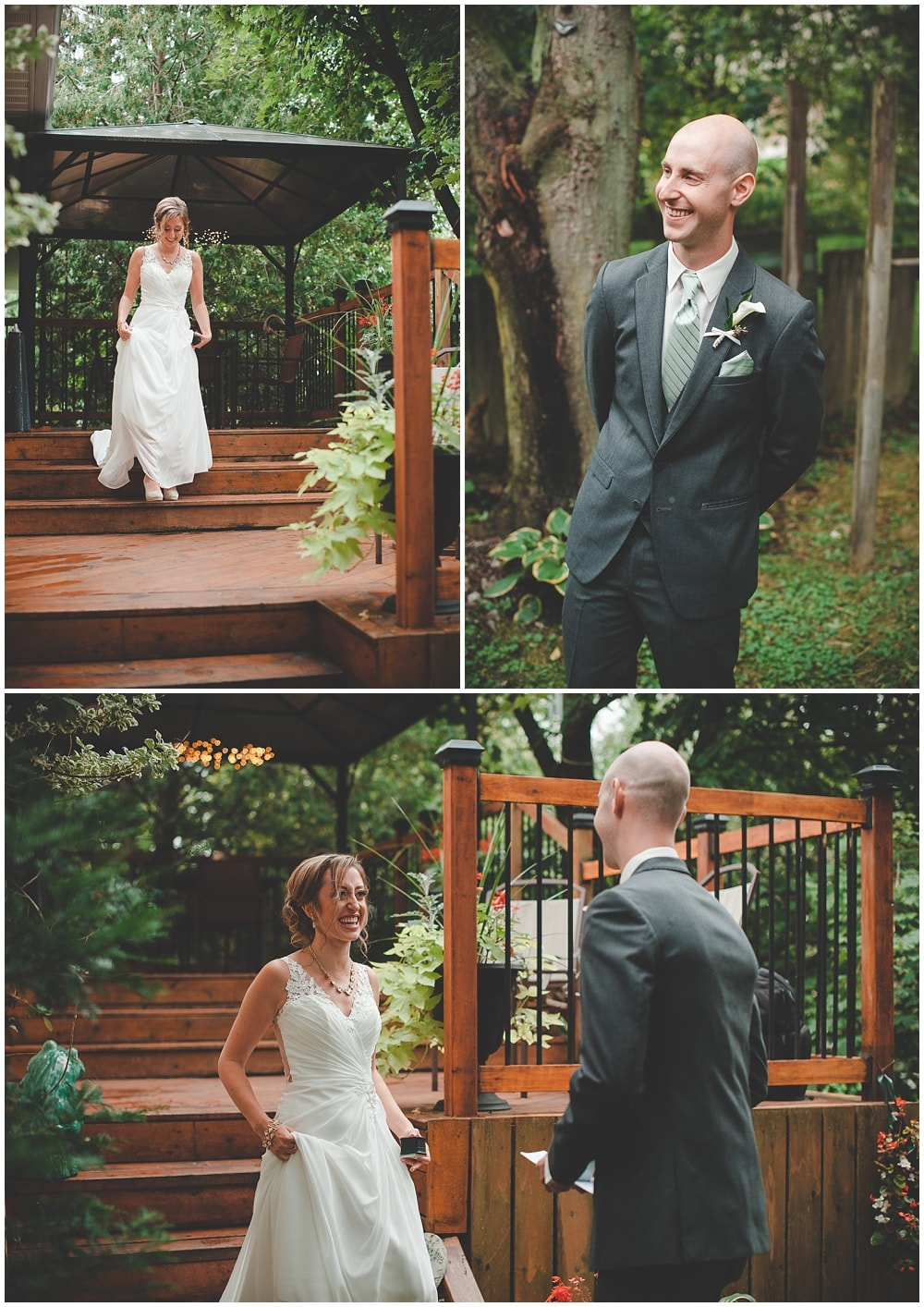 bride and groom backyard deck first look