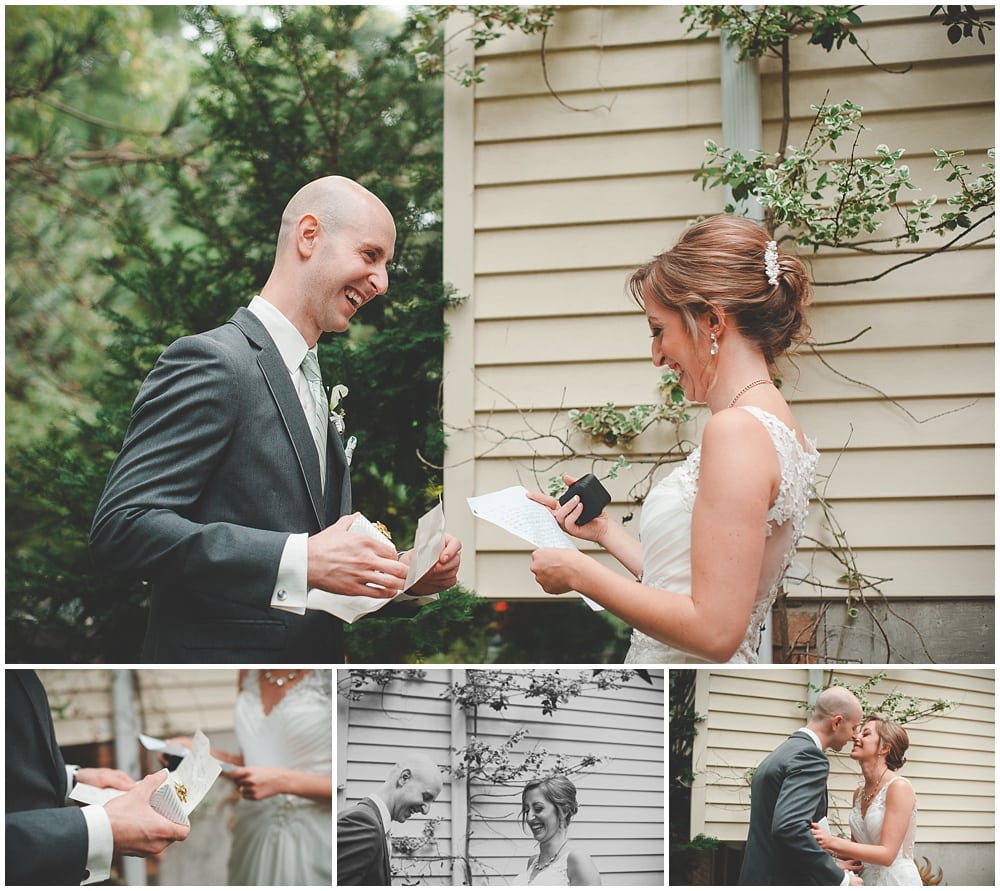 bride and groom exchange gifts and letters during backyard first look